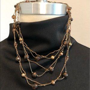 Jewelry - Brown Beaded Multi Strand Choker